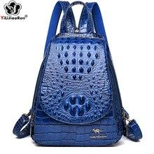 купить Luxury Crocodile Pattern Women Backpacks Fashion Pu Leather Women Backpack Shoulder Bag Large School Backpacks for Teenage Girl по цене 1668.66 рублей