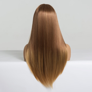 Image 4 - EASIHAIR Long Straight Light Blonde Ombre Wigs with Bangs Synthetic Wigs for Black Women Cosplay Wigs High Temperature Fiber Wig