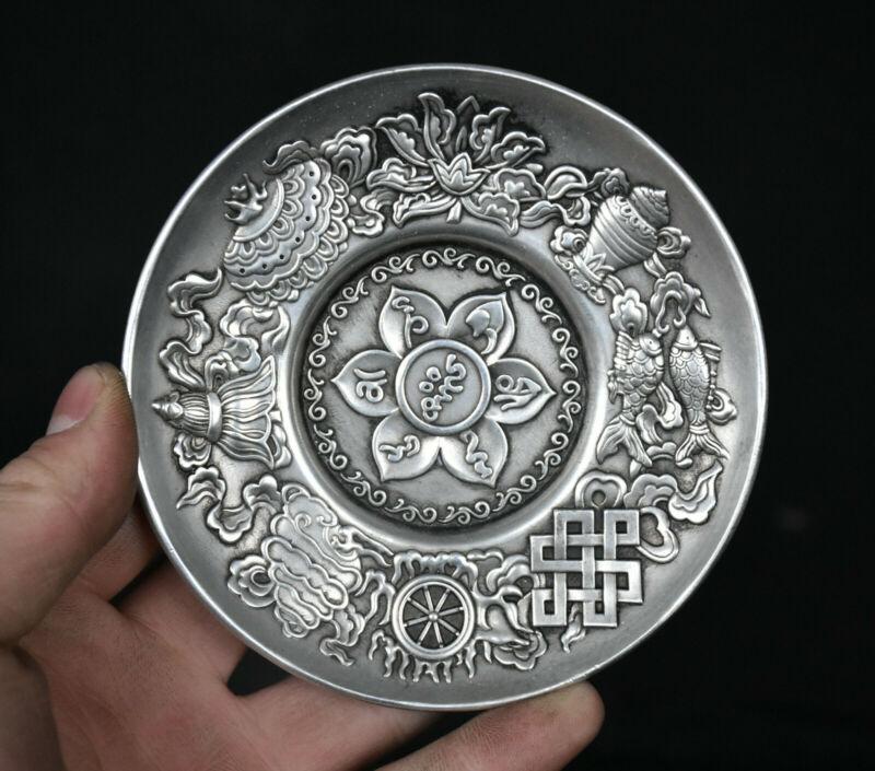 Ancienne dynastie de chine Miao argent fleur de Lotus 8 breloque symbole assiette plat plateau de fruits
