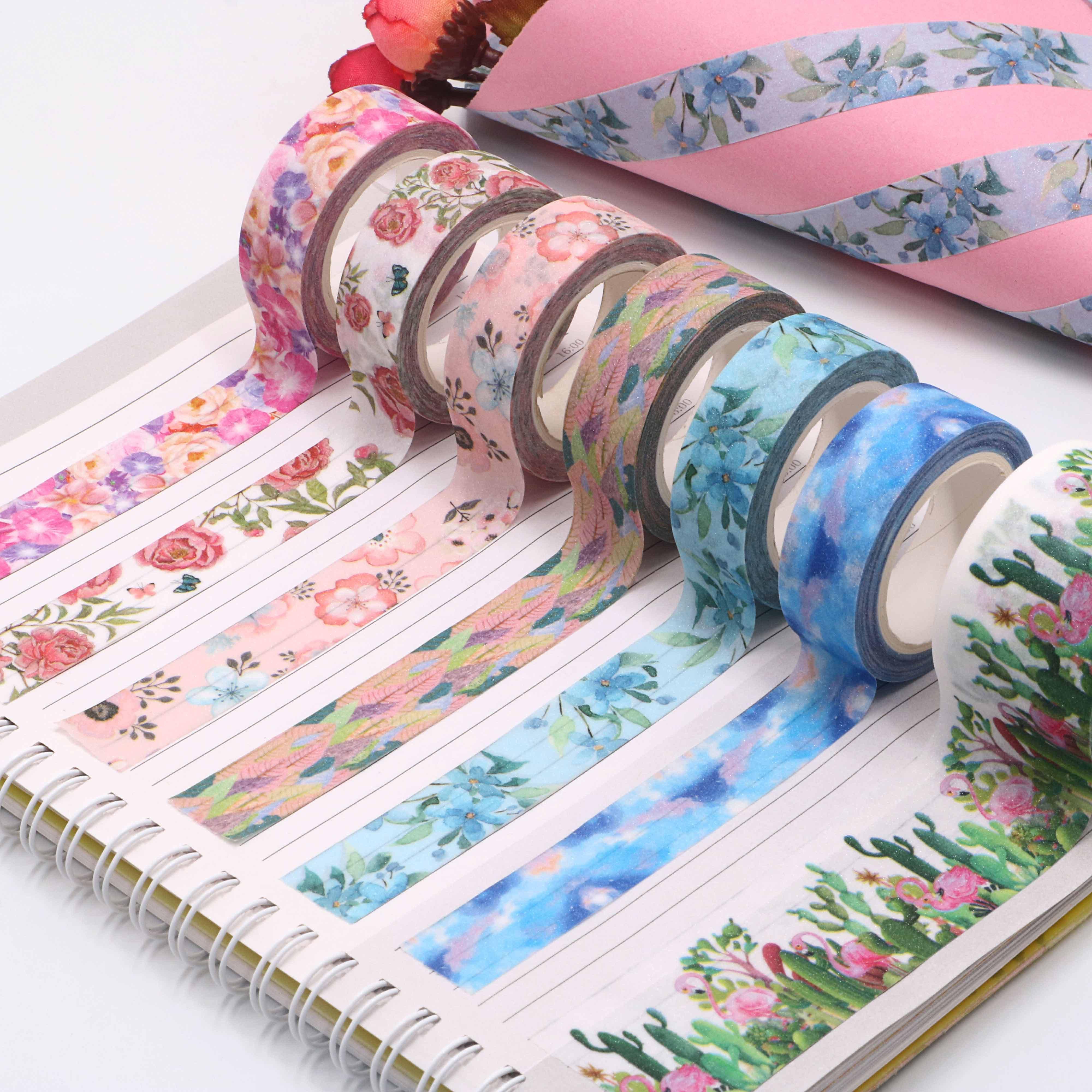 1PC 15mm*3m Glitter Pink Valentine Washi Tape Gift Paper Tape DIY Decoration Accessaries