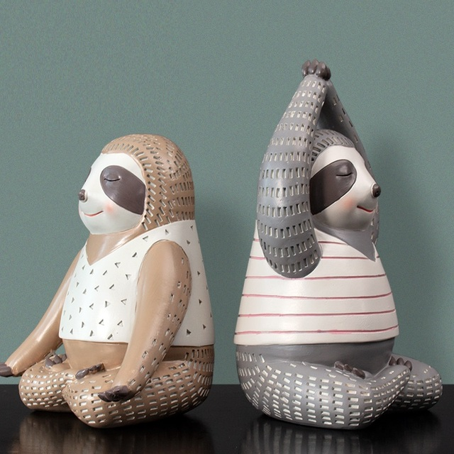 Yoga Sloth Statue Home Decor Chindren Room Ornament Lovely Animal Sculpture Nordic Style Decoration 3