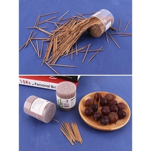Toothpicks with Dispenser Teeth-Cleaning Skewers Single-Head Wooden Carbonized Pointed