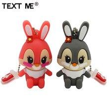 TEXT ME 64GB usb flash drive usb 2.0 4GB 8GB 16GB 32GB  pendrive cute gray pink model rabbit cartoon usb