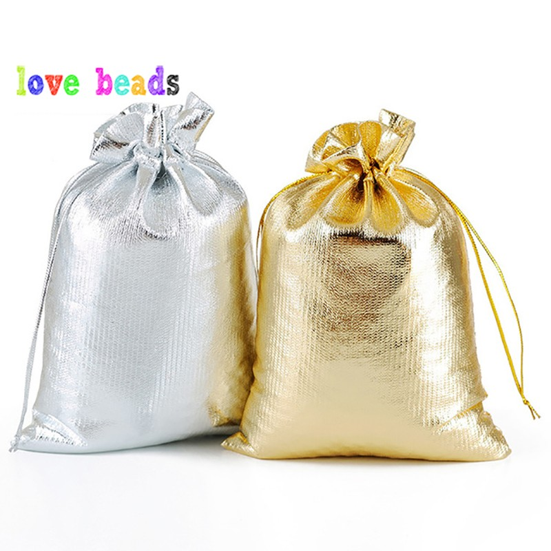50pcs/lot Gold Silver Color Adjustable Jewelry Packing Bags 7x9cm 9x12cm Party Candy Drawstring Wedding Gift Bags & Pouches