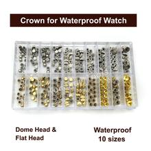 Reemplazo de piezas de corona de reloj a prueba de agua Surtido de cúpula dorada y plateada Accesorios de reloj de cabeza plana Kit de herramientas de reparación para relojero