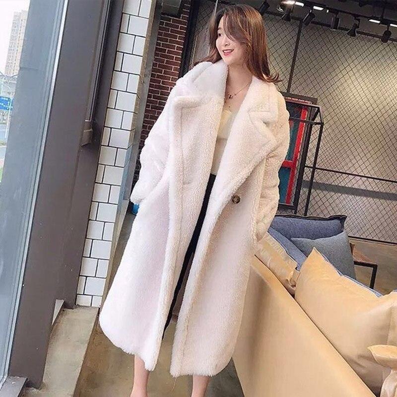 Femmes fourrure ours en peluche manteau en peluche 2019 automne hiver surdimensionné longs manteaux en peluche chaud à manches longues solide mode pardessus femme - 5