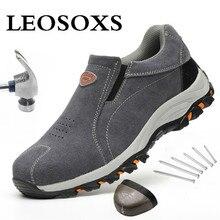 Work-Shoes Safety Sneakers Non-Slip Steel Anti-Smashing New-Design LEOSOXS for Men Toe-Cap