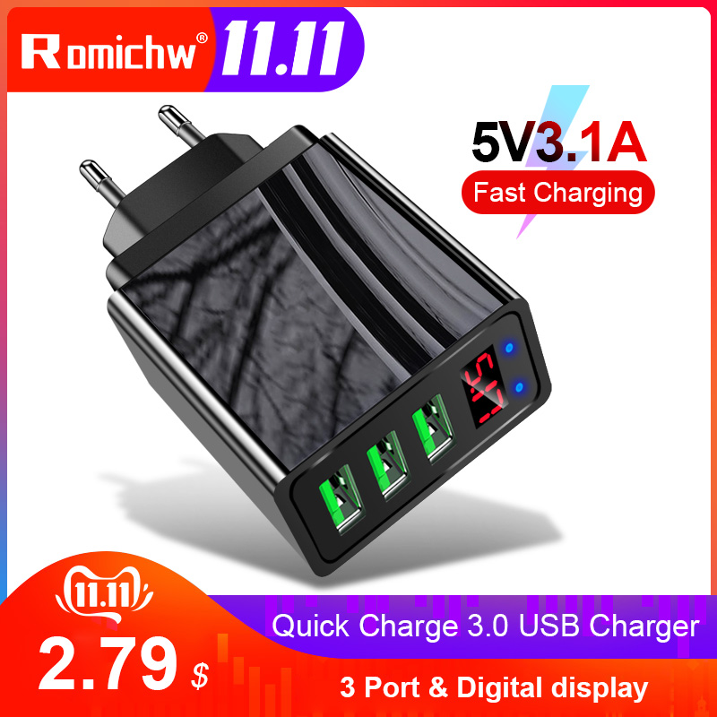 Romichw 3 Port USB Charger LED Display EU US Plug QC 3.0 Fast Wall Charger Mobile Phone Charger For iPhone Samsung Xiaomi Huawei