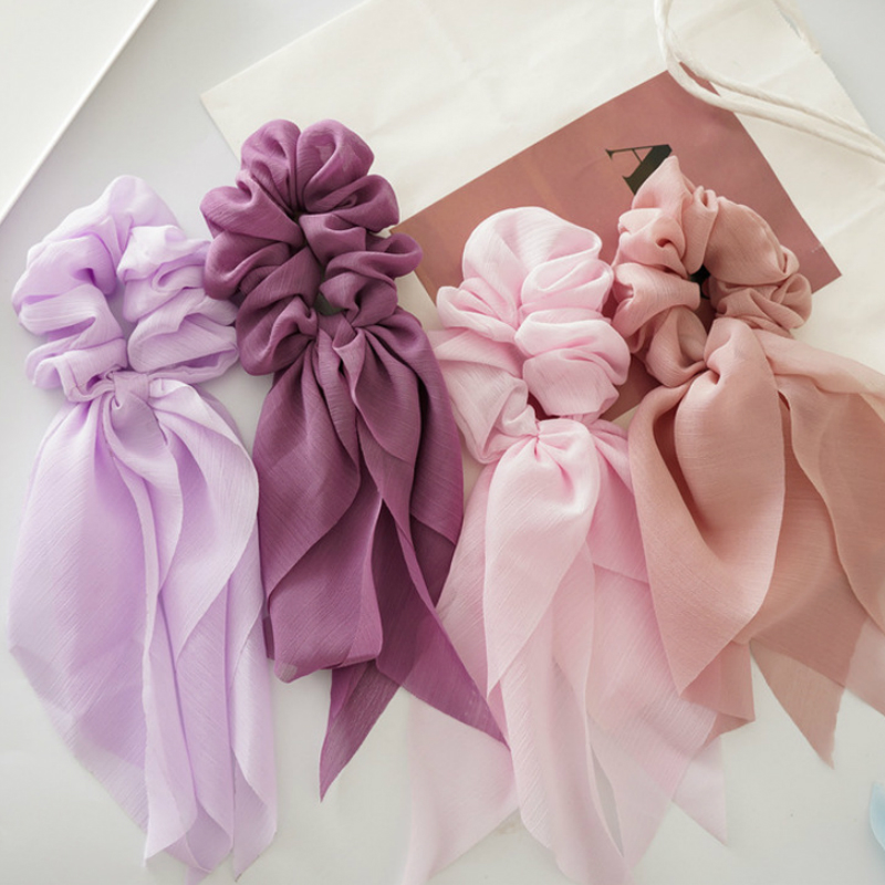 Summer Women Ponytail Hair Ties Scarf Elastic Hair Rope For Women Hair Bow Scrunchies Hair Bands Solid Ribbon Hair Accessories
