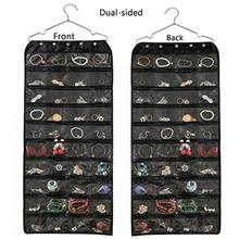 56 Grid Oxford Double Zipper Jewelry Hanging Storage Washable Fabric Trinkets Home Storage Organizer Bag(China)