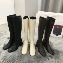 HOT Women Knee High Boots Female Fetish Zipper Knight White Boots Platform Winter Brown Booties Lady Low High Heels Shoes