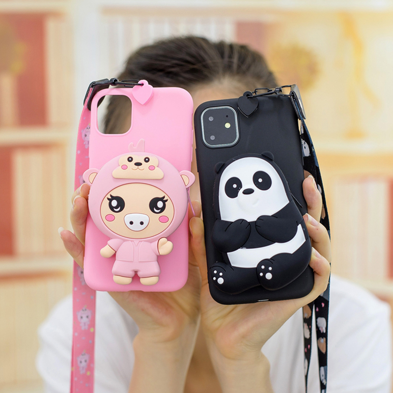 3D Silicone Cartoon Phone Case for iPhone 11 Pro Max Cute Panda Wallet Bag Back Cover