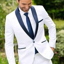Groom Tuxedos Wedding-Suits Pants Jacket Suit Mens Classic-Design White Best-Man Tie