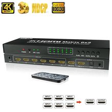 4k hdmi switch 6 entrada 2 saída hdmi matriz switcher 6x2 hdmi divisor matriz com spdif 3.5mm áudio extrator 4k x 2k @ 30hz arco