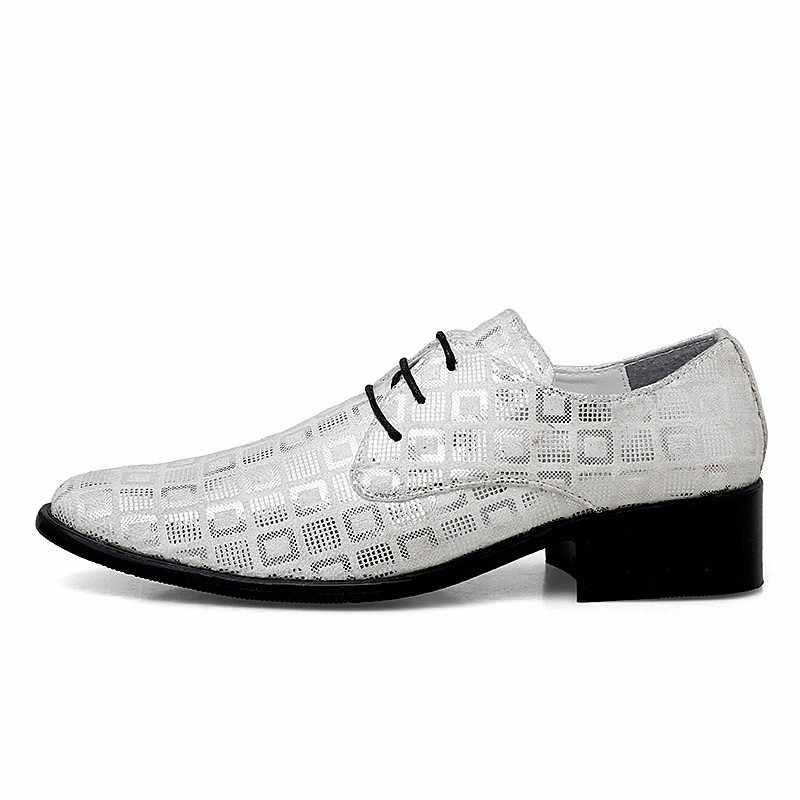 AGSan Trắng Trọng Nam Mũi Nhọn Trọng Phối Ren Đầm Giày Tăng Chiều Cao Giày Công Sở Thời Trang Oxfords Nam
