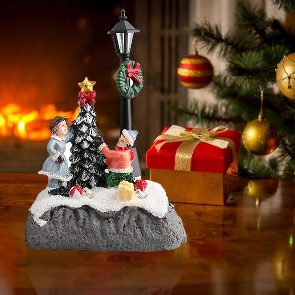 Рождественская деревня, резиновое украшение с деревом, набор для строительства, рождественские светящиеся деревенские сцены, подарок для д...