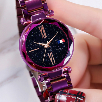 High Quality New Japan Quartz Movement Women Bright Purple Stainless Steel Magnet Mesh Band Flash Dial Ladies Watch Dropshipping