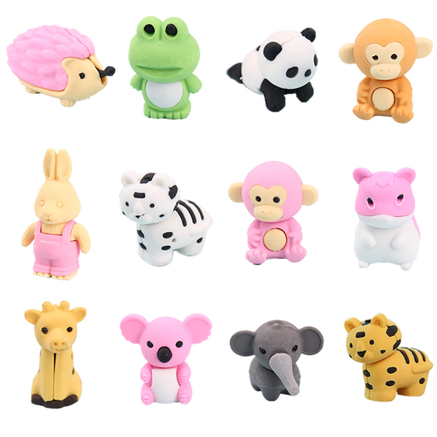 Cute Cartoon Eraser Frog Panda Rabbit Monkey Dinosaur Eraser Children Student Stationery Primary School Prize Office Supplies