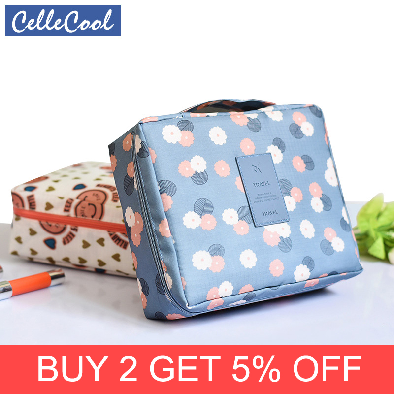 CelleCool 2018 Multifunction Travel Cosmetic Bag Women Toiletries Organizer Makeup Bags Waterproof Female Storage Make Up Cases