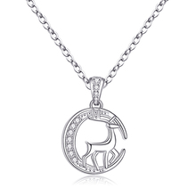 S925 Sterling Silver Deer Pendant Necklace Simple and Fashionable New Style Forest Elk Collarbone Necklace Suitable for Women Ch
