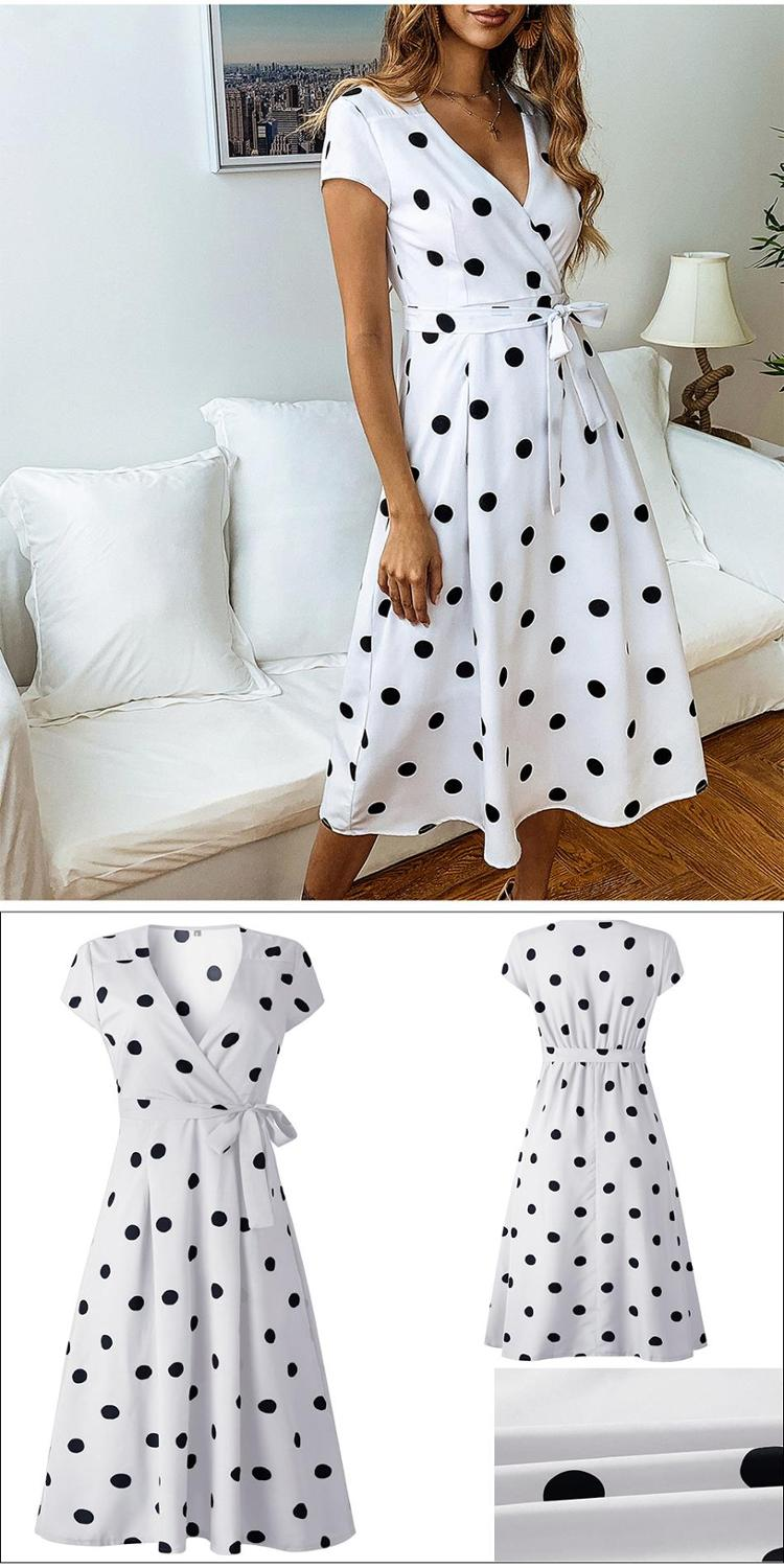 Summer Dress Women Vintage Dress Casual Polka Dot Print A-Line Party Dresses Sexy V-neck Short Sleeve Long Dress Fashion