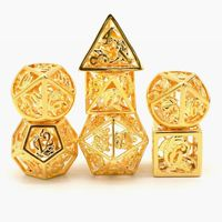 HYMGHO Handcrafted 24K gold plating Dice 7pcs/Set for RPG DnD Pathfinder Board Games tabletop collection D4 D6 D8 D10 D% D12 D20