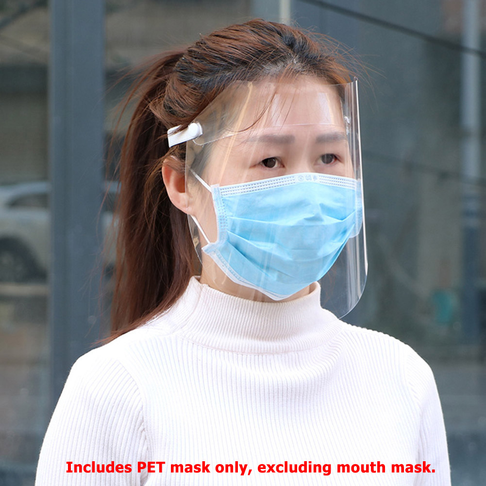 40PCS Universal PET Transparent Face Mask Outdoor Splash Proof Adult Children Full Face Safety Protective Shield Cover