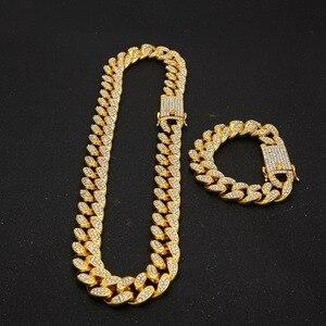 14 мм кубинское ожерелье со льдом, цепочка в стиле хип-хоп, ювелирное изделие, колье золотистого и серебристого цвета с кристаллами CZ, застежк...
