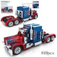 2019 New 849pcs Petorbilt Truck Pull Back Technic Model Building Blocks Bricks Collection Legoinglys Toys For Children Boys