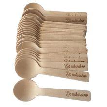 Mini cucharas de madera desechables de Mubarak con diseño islámico musulmán, vajilla de fiesta de cumpleaños de Ramadán, cucharas de helado personalizadas, 100 Uds.