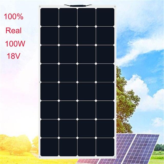 XINPUGUANG 100 واط 18 فولت أو 16 فولت مرنة خلية لوحية شمسية 100 واط وحدة أحادية البلورية sunpower الطلاء الشمسية 12 فولت شاحن بطارية