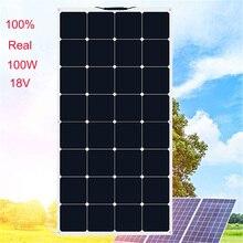 Xinpuguang 100 ワット 18vまたは 16 2v柔軟な太陽電池パネル携帯 100 ワットモジュール単結晶サンパワーpainel太陽 12 12vバッテリー充電器