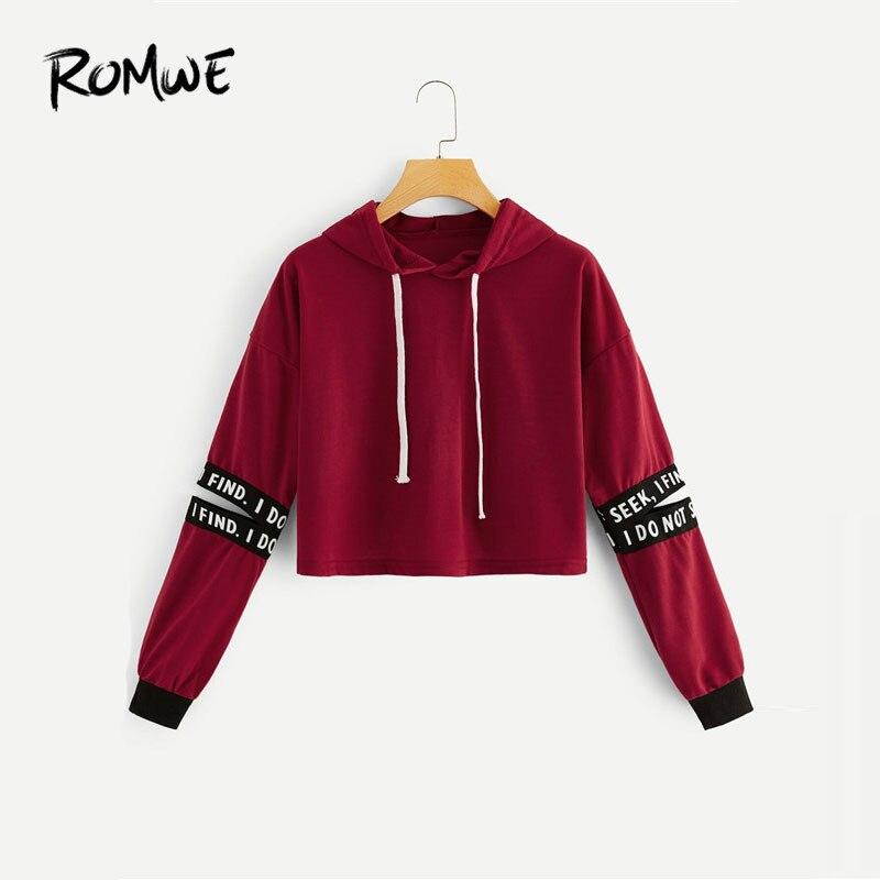 ROMWE Burgundy Random Letter Tape Split Sleeve Crop Hoodies Sweatshirts Women Casual Fall Clothing Long Sleeve Hoodie Pullovers
