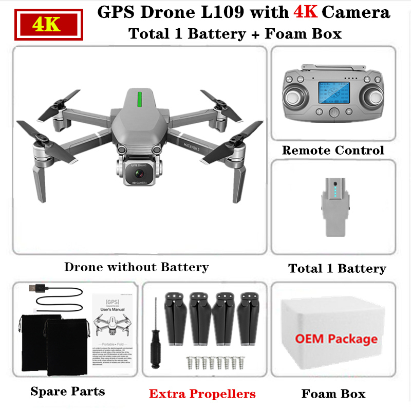 L109PRO GPS Drone 4K Quadcopter Mechanical Two-axis Anti-shake 5G WiFi FPV HD ESC Camera Brushless Helicopter 25mins Flight Time