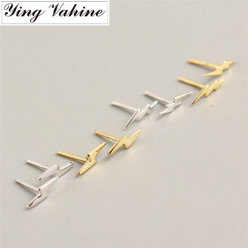 Ying Vahine 100% 925 Sterling Silver Mini Small Lightning Stud Earrings For Women