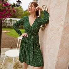 Simplee-vestido midi sexi de fiesta para mujer, vestido verde con escote triangular, mangas largas y botones de farol con cinta ancha