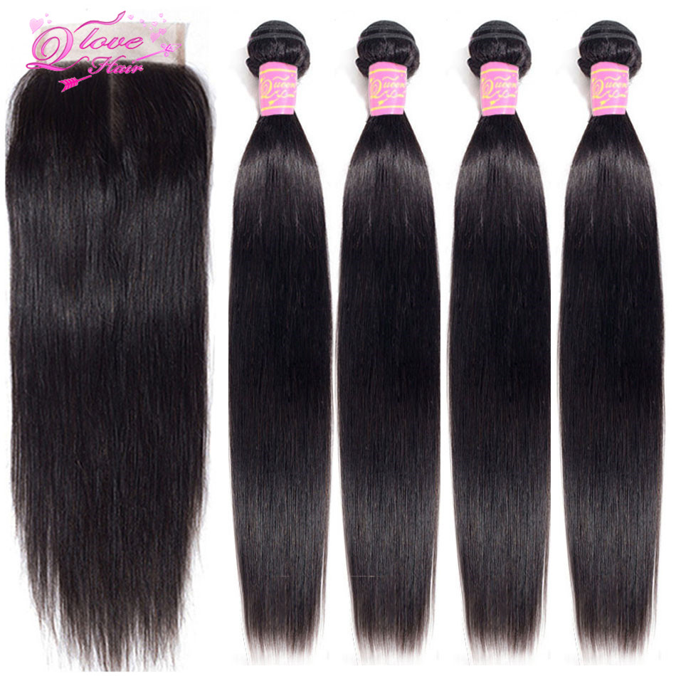 Queen Love Hair 100% Human Hair Bundles With Closure Brazilian Remy Hair Natural Color Straight Hair Bundles With Closure