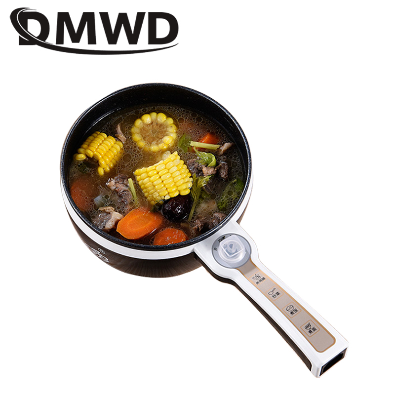 DMWD multifunction electric skillet heating pan multicooker hot pot noodles soup rice cooker egg steamer omelette frying machine
