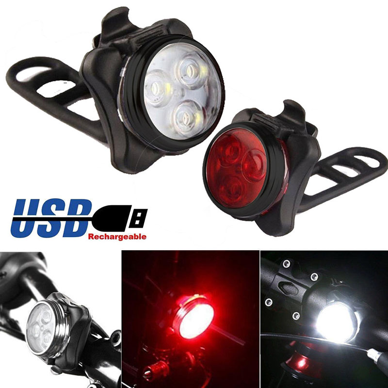 Bicycle USB Rechargeable Light Bright Cycling Bicycle Bike 3 LED Head Front Light 4 Modes Waterproof Tail Clip Light Lamp