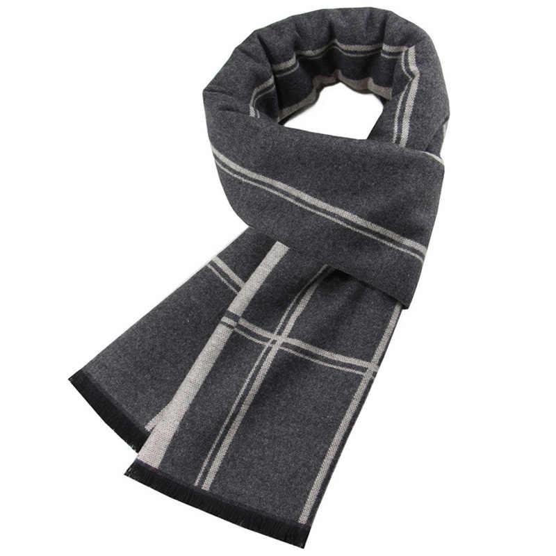 YISHLINE de marca de lujo de la bufanda de la Cachemira de los hombres de invierno gruesa viscosa bufandas cuadros otoño cálido largo pañuelo hombre secreto шарф мужской