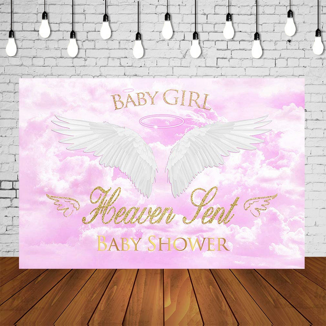 Girl Baby Shower Backdrop Baby Girl Heaven Sent Babyshower Party Banner Pink Background Wings Studio Photo Celebrating Poster Background Aliexpress