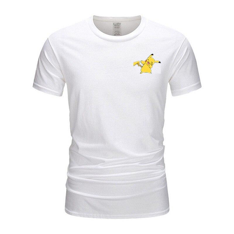 Футболка с принтом Покемон Пикачу, аниме, модные мужские футболки, 100% хлопок, короткий рукав, 5XL, футболки, топы, TX026