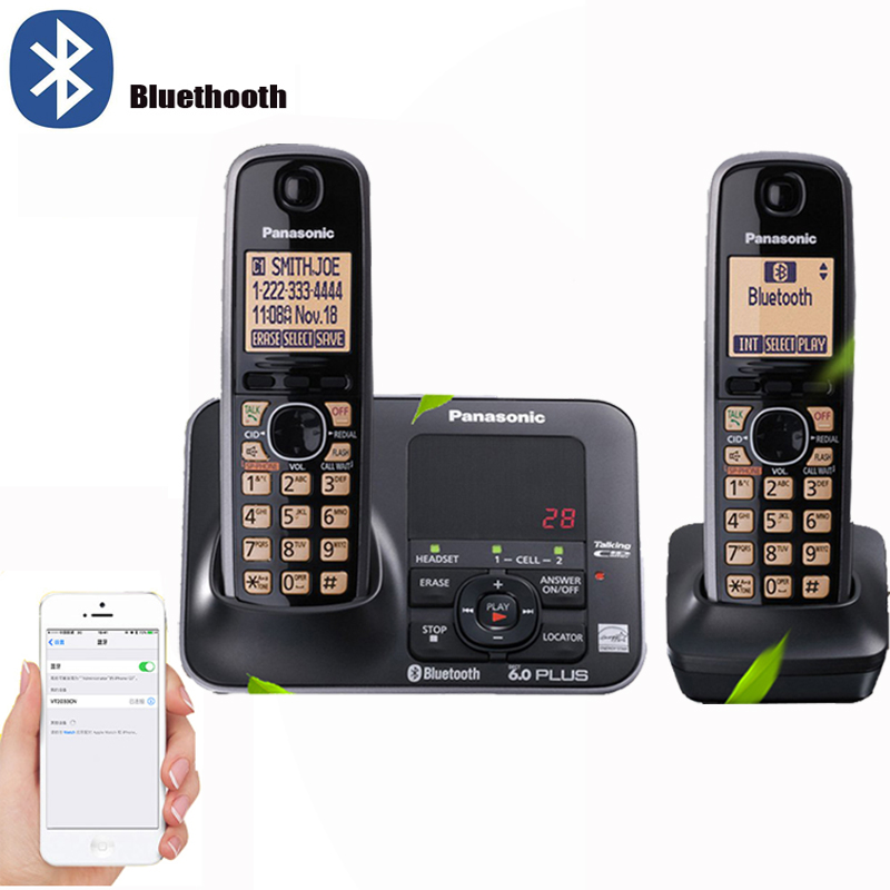 Цифровой беспроводной телефон с bluetooth ответной машиной Handfree Голосовая почта с подсветкой lcd беспроводной телефон для офиса дома черный title=