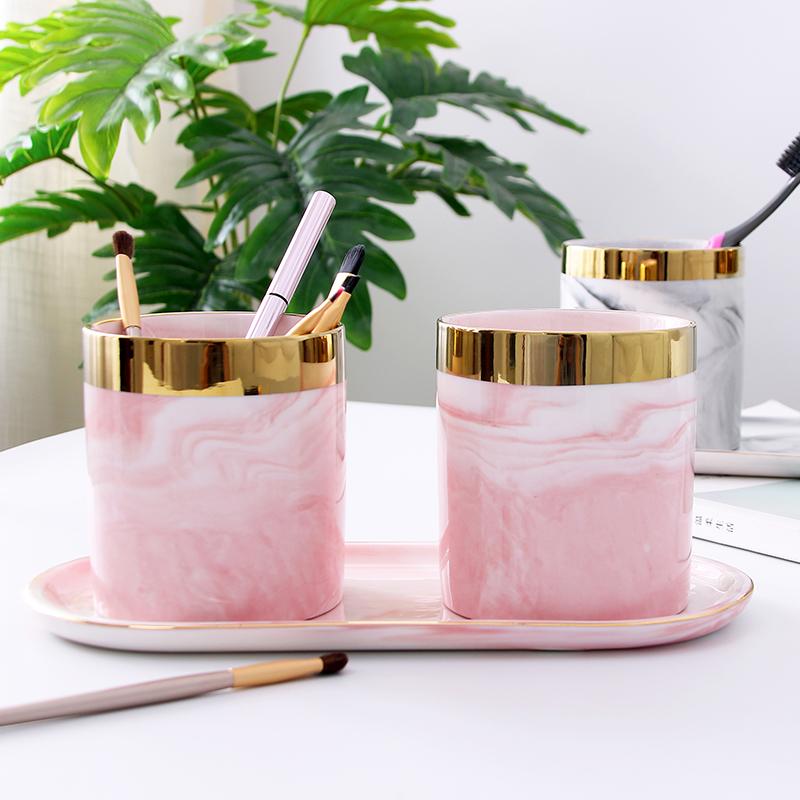 Glod Marble Makeup Brush Storage Holder Stand Dresser Cosmetic Desck Organizer Pen Pencil Ruler Holder Ceramic Tumbler Cup