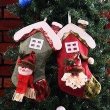 цена на Christmas Santa Claus Snowman Pattern Hanging Decorations Christmas Stocking Christmas Tree Pendant Gift Bag For Home Decoration