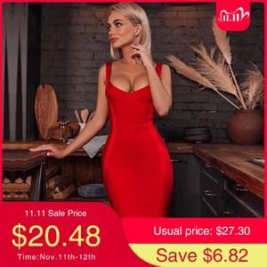 Image 1 - Adyce 2020 New Summer Woman Bandage Dress Red Blue Nude Sexy Spagehetti Strap Midi Celebrity Bodycon Club Party Dress Vestidos