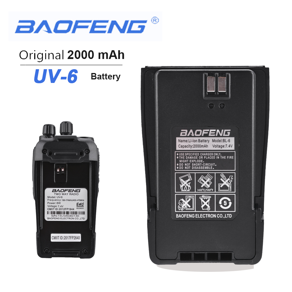 New Original BaoFeng UV-6 Walkie Talkie 7.4V 2000mAh Rechargeable Replacement Battery Pack For Baofeng UV-6 UV-6D Two Way Radio