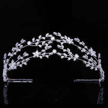 Tiaras e coroa hadiyana lindo temperamento noiva casamento jóias de cabelo feminino festa headpiece zirconia bc4891 corona princesa