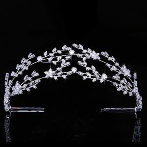 Image 1 - Tiaras ve taç HADIYANA muhteşem mizaç gelin düğün saç takı kadın parti başlık zirkonya BC4891 Corona Princesa