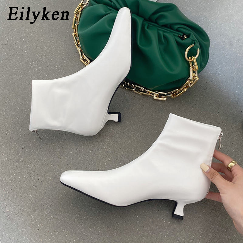 Eilyken 2021 Autumn Women Boots Fashion Ladies Ankle Boots Square Toe Thin Low Heels Solid Color Side Zipper Ladies Short Boots